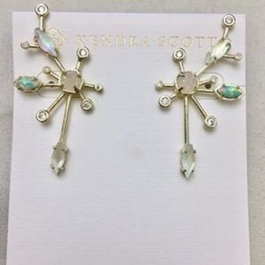 Matilda aqua opal in gold earrings